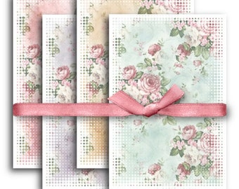 Shabby Chic Roses Digital Collage Sheet Download -1131- Digital Paper - Instant Download Printables