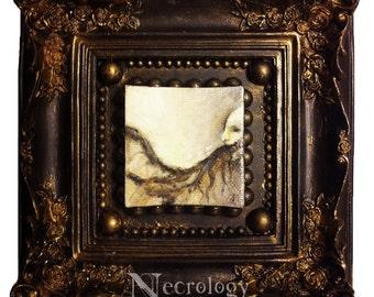 """Ornate Framed Painting, Horror Art, Macabre, """"Black Center"""""""