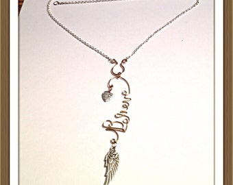 Handmade MWL handforged wire necklace. Wire believe with dangle rose wing and heart charm on a forged U finding. 0325