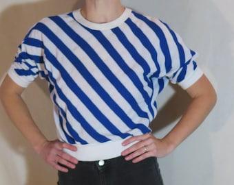 Vintage Woven Shirt with Diagonal Stripes