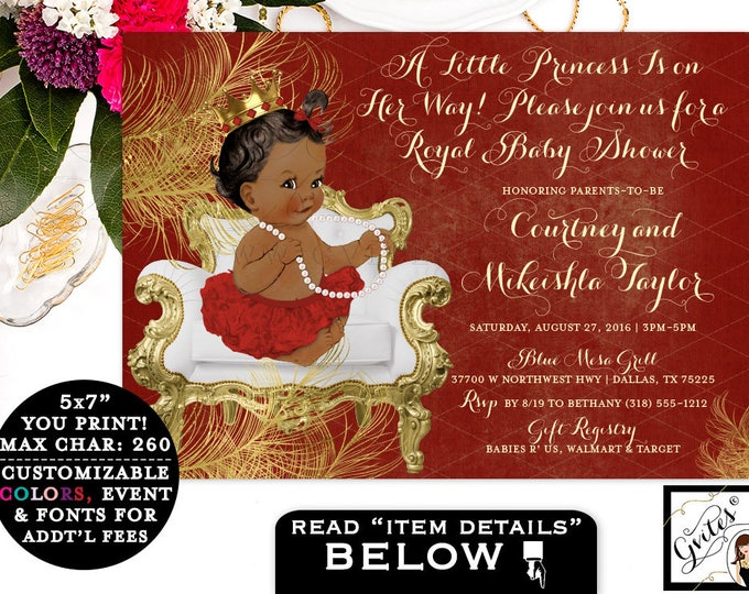 "Baby Shower Red Gold Invitations, princess african american baby girl, digital invitation, a little princess on the way, 7x5"" Gvites"