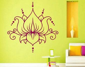 lotus Wall Decal Sticker Buddhist symbol lotus lower Sticker bedroom yoga Spiritual Decal Yoga Decal Flower Wall Art kik2972