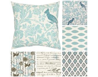Mineral Blue Pillows.Light Blue Decorative Pillow Cover.Grey Pillows. Floral Bird Throw Pillow.Blue Grey Toss Pillows.Cushions