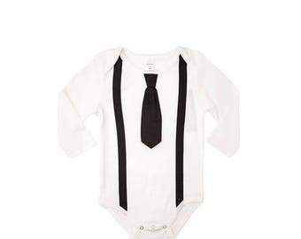 Black Suspender, Black Tie Onesie