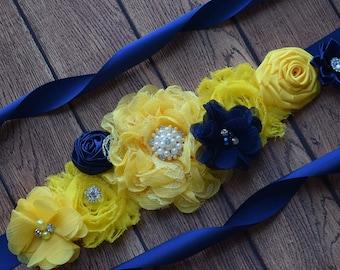 Flower Sash, Yellow navy Sash , flower Belt, maternity sash, flower girl sash, baby shower sash