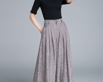 palazzo pants, brown linen pants, wide leg pants, pleated pant, womens pants, maxi pants, high waisted pants, palazzo trousers  1670