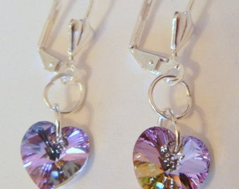 Swarovski Crystal Vitrail Light Heart Shaped Silver Plated Earrings
