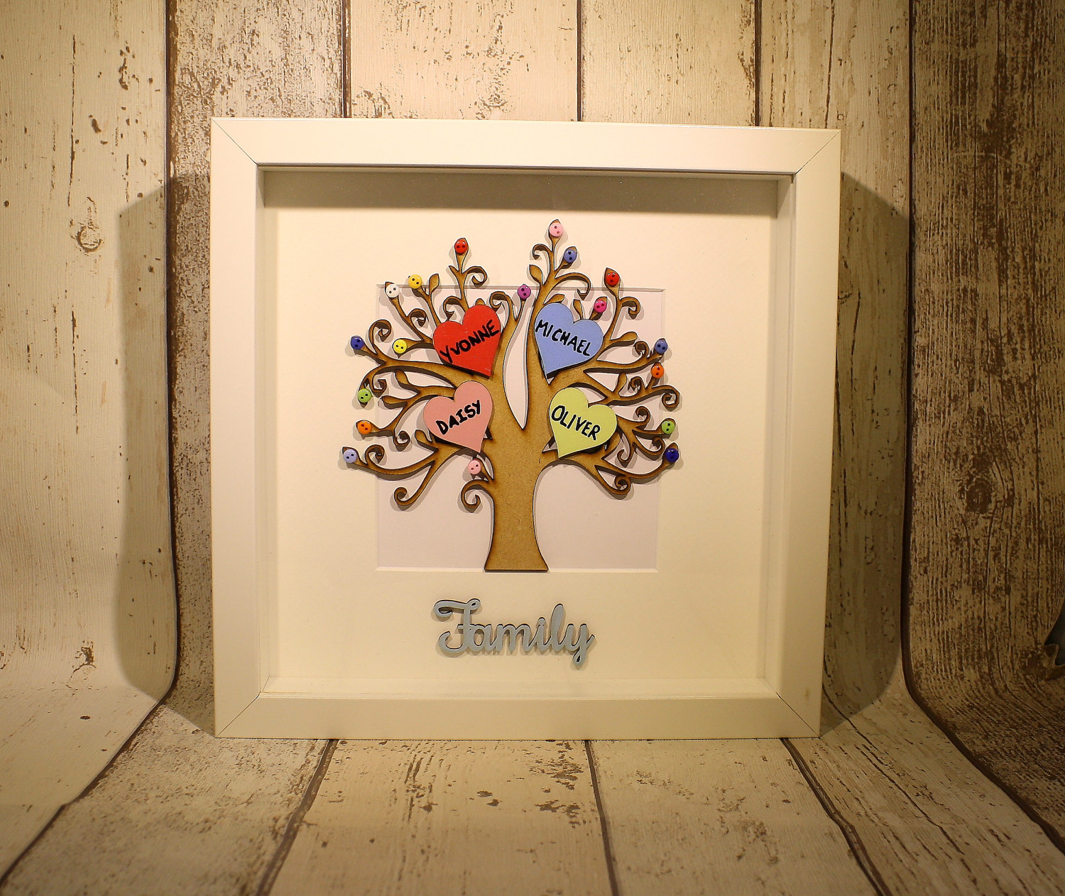 Colour Family Tree, Personalised gift mum, family tree box frame ...