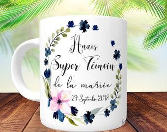 MUG SUPER TÉMOIN Floral Marine-  personnalisé Recto/Verso, mug personnalisé,tasse personnalisée,mug prénom,cadeau témoin, mug témoin mariage