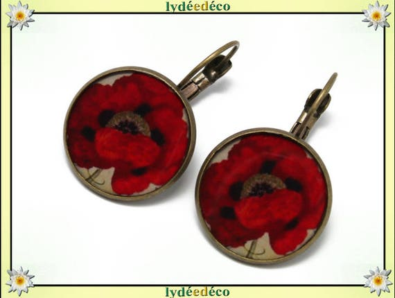 Earrings vintage poppy red black beige flower resin beads bronze resin Stud Earrings