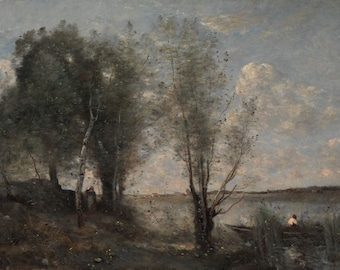 """Camille Corot : """"Boatman among the Reeds"""" (c. 1865) - Giclee Fine Art Print"""