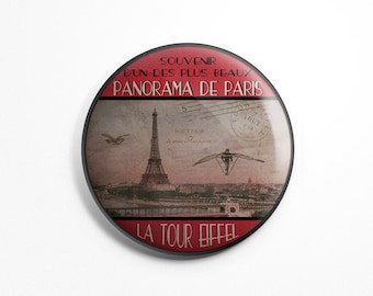 Button Magnet Paris Vintage - Paris Souvenir Eiffel Tower Panorama Old Postcard Fridge Round Magnet 56mm diameter Kitchen Decoration