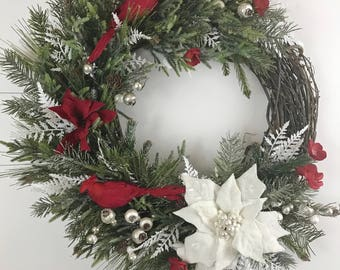 cardinal  Christmas Wreath, cardinal Christmas wreath, winter wreath,  white poinsettias,  cardinal Christmas decor