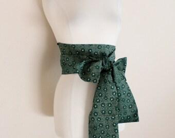 eco chic cotton obi green floral print ready to ship / yukata obi / ready to wear obi