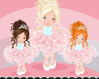 Pink Tutu clipart. Cute ballerina graphics, ballet party, party printables, digitized embroidery, planner stickers, chore charts, art, girls