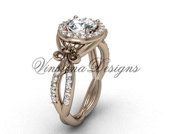 rose gold engagement ring, 14kt rose gold diamond Fleur de Lis, halo engagement ring, One Moissanite VD208127