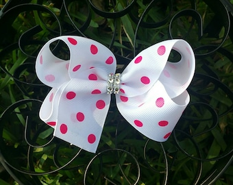 White & Hot Pink Polka Dots Boutique Hairbow