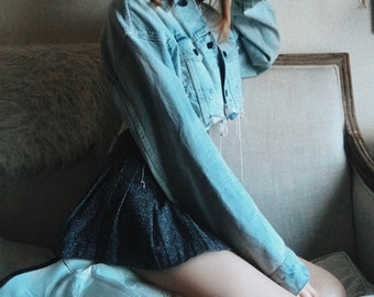 1990's Vintage Charcoal 'I.N San Francisco' Gray Pleated Tennis Mini Skirt Size Medium Junior 9