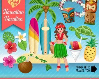 Hawaiian Vacation CLIP ART ONLY