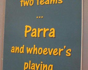 Parramatta Eels versus Manly Rugby League Footy Football Sign Bar Pub Man Cave