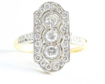 Art deco diamond ring in 18 carat mixed gold handmade for her
