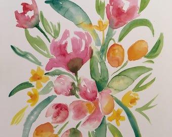 Apple Blossoms and Kumquats Watercolor PRINT