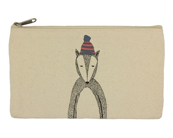 Pencil case/ stationary/ Chad the badger/ pencil pouch/ canvas bag/ pencil holder/ make up bag/ school supplies/gift for women/ gift for her