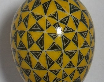 Pysanky Yellow & Black Triangles on Duck Egg