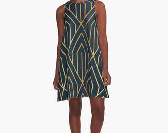 Art Deco Dress, A Line Dress, Art Deco, 1920's inspired dress, 1930's dress, retro dress, 1930's clothing, 1920s clothing, Art Deco Pattern,
