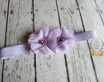 Lavender Headband  - Glitter -  Light Purple - Lilac - Baby  - Flower Girl - Orchid - Baby Headband - Rhinestones - Pearls - Photo Prop