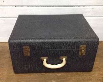 Vintage Leather Dark Blue Suitcase