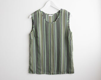 green yellow stripped camisole sleeveless blouse tank top / polyester /