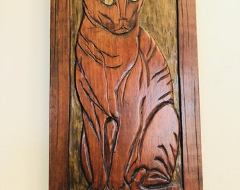Vintage Handmade Folk Art Cat Art Wall Hanging, Solid Wood, 70s Wall Decor, One of a Kind,