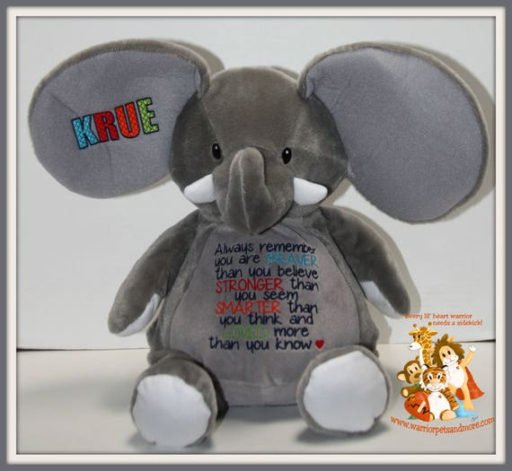 Always remember you are Braver, Stronger, Smarter, Loved, stuffed animal