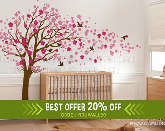 Removable Pink Cherry Blossom Tree Wall Decal Children Wall Sticker Nursery Wall Decals -Wall Decor Wallpaper