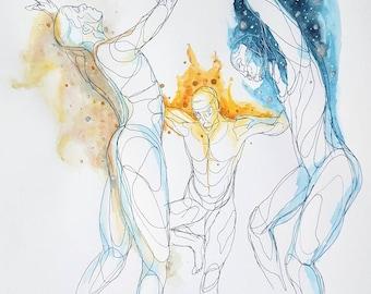 Light,Fire & Darkness A4-A1print