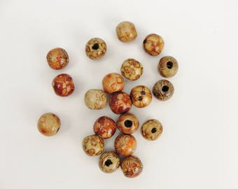 Barrel printed bead 12mm set of 20