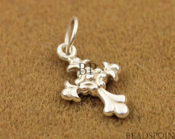 Sterling Silver Cross Charm / Pendant with Jump Ring, Spiritual Jewelry Component, (SS/CH1/CR5)