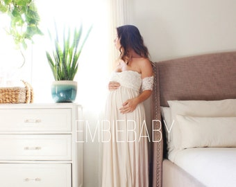 Maternity gown photo shoot baby shower maternity dress- the lace wrap babydoll
