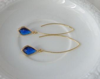 Deep Waters. Cobalt Blue and Gold Earrings. threader earrings. long earrings. dangle earrings. modern earrings. wedding earrings.
