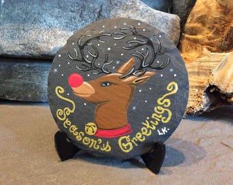 "Hand painted slate coasters, ""Reindeer greetings"" original artwork rock coasters,art collection,Christmas decor,art gift."