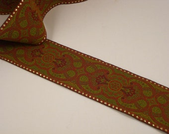 RICH Red/Olive/Gold Jacquard RIBBON Trim  --One Yard