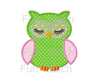 Sleeping owl applique machine embroidery design