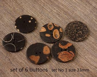 Handmade art buttons set of six, unique elegant buttons