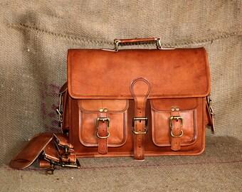 """Organic Handmade 15"""" leather messenger bag for men & women office briefcase bag gift for men genuine leather vintage messenger laptop bag"""
