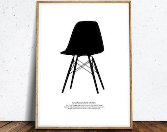 Chair Print,Chair art, Eames chair Print, Retro print, Modern poster,Eames chair poster, Affiche Scandinave, minimalist wall art