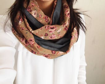 Snood collar double mid-season pink khaki and floral patterns