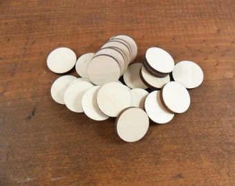 "Stud Earring Wood Circle Blanks 1/2"" (12.7mm) Laser Cut Wood Jewelry Shapes - NO Holes - 25 Pieces"