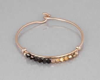 Gold Cuff Bracelet, Beaded Bracelet, Swarovski Bracelet, Gemstone Bracelet, Garnet Bracelet, Open Bangle Gold , Dainty Bracelet Minimalist