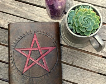 A6 Leather Journal /Spell Book/Book of Shadows/ Made in Australia.